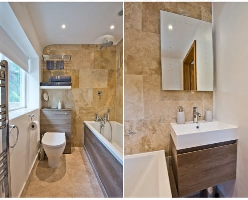 Upstairs ensuite with bath/ shower