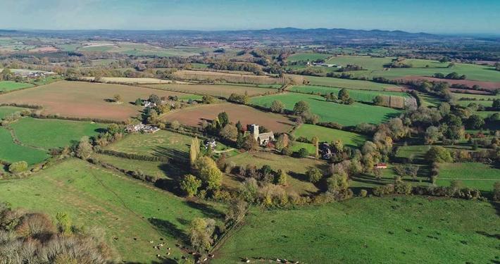 Drone View Upton Bishop Church