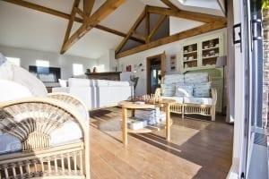 view from terrace door into living room